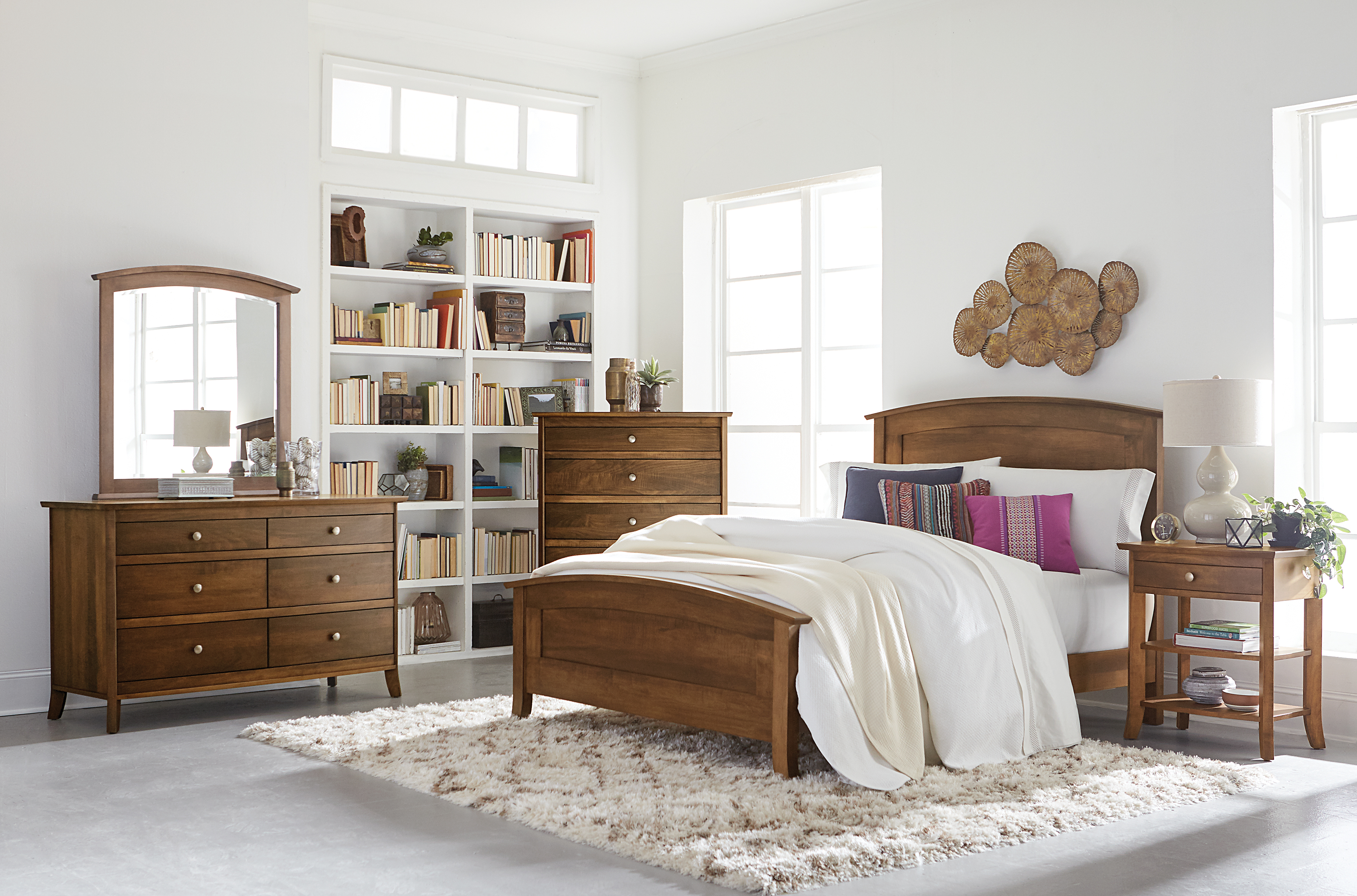 Laurel Bedroom Collection Featured in Brown Maple with Chocolate Spice stain at Mattie Lu