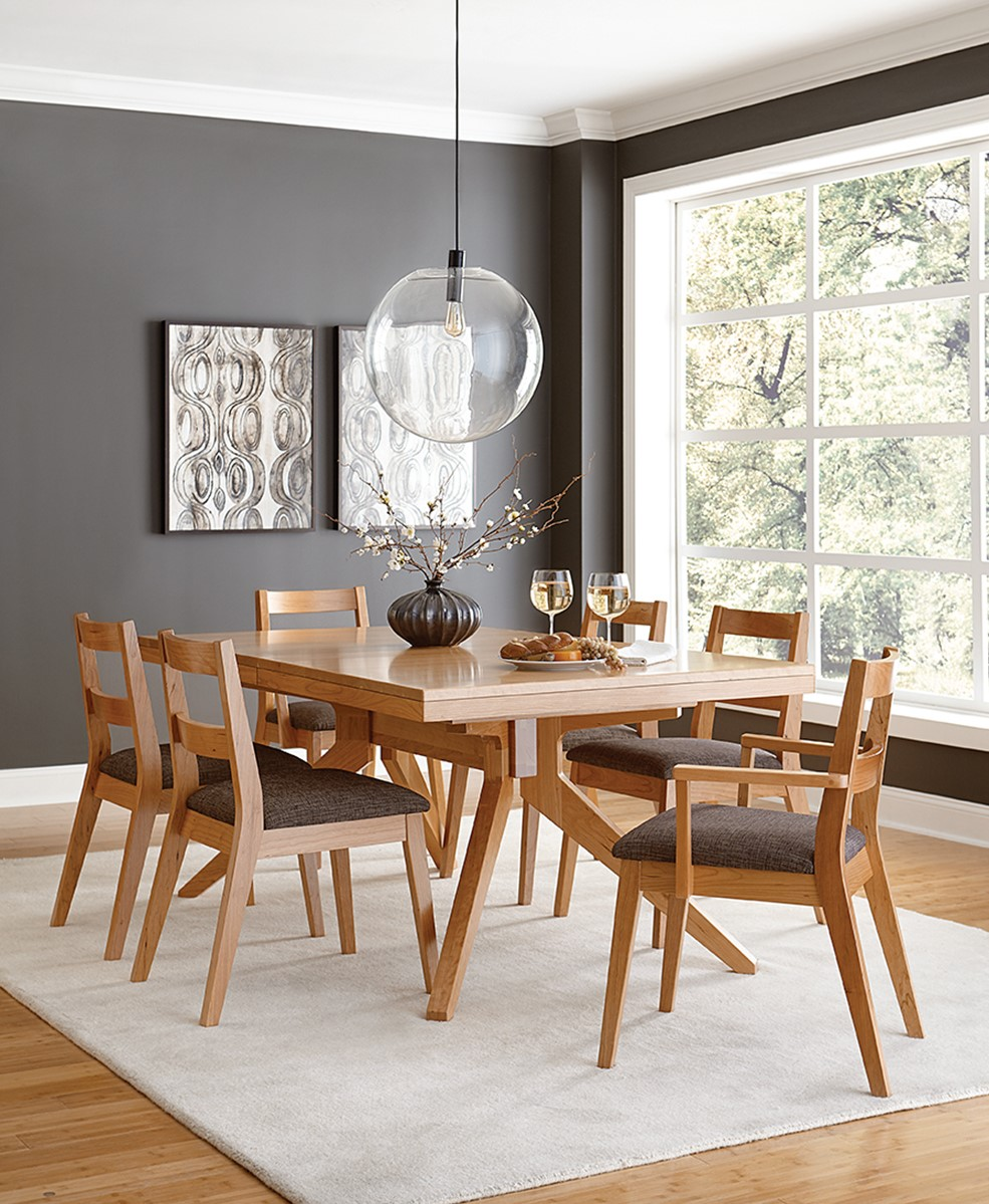 Sonora Trestle Dining Table and Sonora Dining Chairs shown in Cherry with a Natural Finish at Mattie Lu